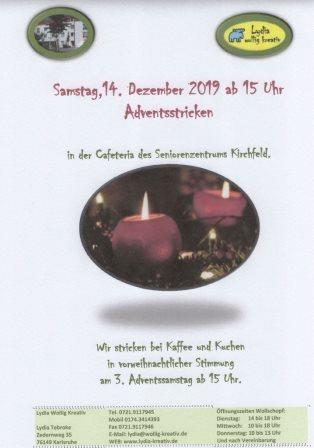 Samstag, 12. Dezember 2020 Adventsstricken in der Caféteria des Seniorenzentrums Kirchfeld