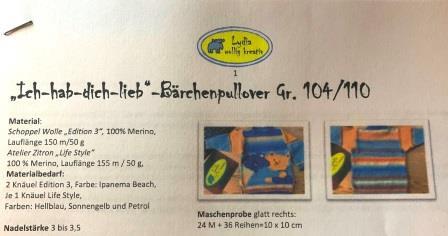 """Anleitung """"Ich hab dich lieb""""-Bärchenpullover Gr. 104"""