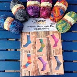 Ferner Sockenwolle 4-fach mit Baumwolle  – 100 g Knäuel  Neue Farben