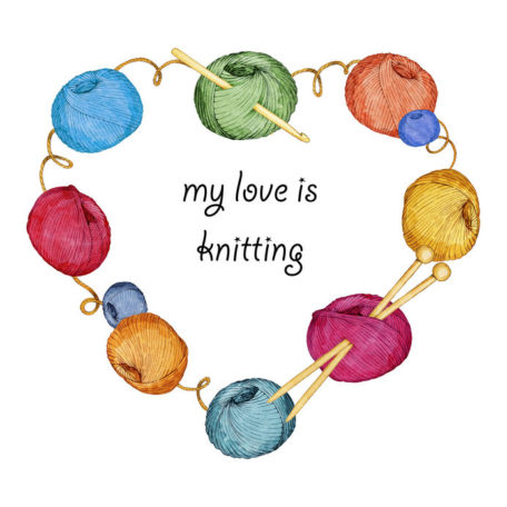 hand drawn watercolor heart-shaped wreath consisting of knitting accessories on a white background